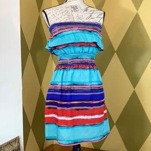 Backstage Womans Colorful Strapless Mini Dress S/M